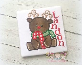 Christmas Reindeer shirt - reindeer shirt with candy cane - Holiday reindeer Christmas shirt - personalized Christmas shirt with reindeer