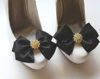 Wedding Shoe Clips -  Satin Bows - MANY COLORS AVAILABLE, womens shoe clips, wedding shoes clip, gold rhinestones,  clips for wedding shoes,