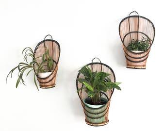 Vintage Hanging Plant Basket Collection Nesting Rattan Peacock Fan Baskets Home Decor Boho Home Decor Bohemian Wall Plant Holder Baskets