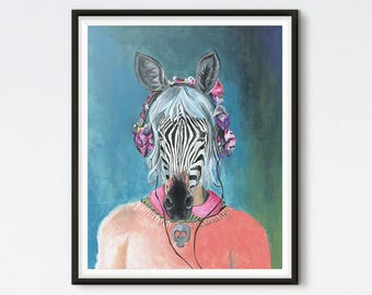 I Can't Hear You - Zebra Painting - Hipster Animal - Funny Animal - Art Print - Animal Portrait - Acrylic Portrait - Illustrated Art Prints