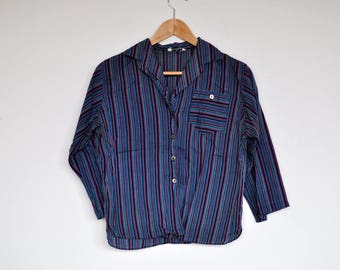 Vintage Striped Mid Sleeve Button Up Blouse Boxy Top