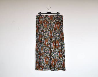 Vintage High Waist Floral Cotton A Line Maxi Skirt