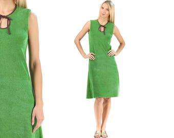 TERRY CLOTH Dress 70s Boho Mod Sleeveless Dress 70s Home Beach Summer Dress Bohemian Minimal Towel Green Vintage Stretchy Sundress Small