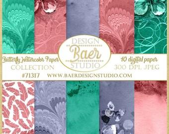 Digital Paper Watercolor, Butterfly Digital Paper, Marble Digital Paper, Navy Blue Watercolor Paper, #71317