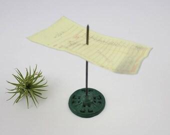 Vintage Cast Iron Receipt Spike - Green Cast Iron Note Holder Paperweight Desk Accessory