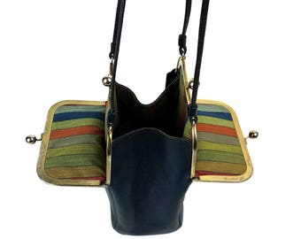 1960's Bonnie Cashin Coach Purse // Double Kisslock, Mexican Stripes Fabric Lining // Pre-Creed Navy Leather Swing Handbag, Coach Box Letter