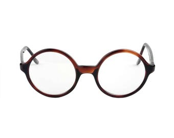 Vintage Victory Round Circle Eyeglasses // Tortoise Brown Plastic Round Oval Circular Frame, 48-22, 5-1/2, Made in U.S.A.