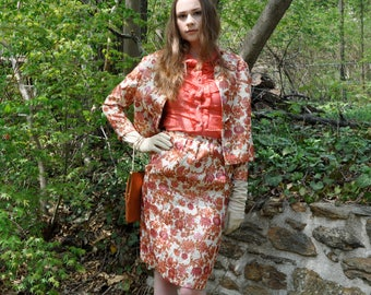 Gold Copper Rose Metallic Brocade Cocktail Party Suit/Vintage 1960s/Lame Crop Jacket And Skirt/Luxe Lurex Metallic Retro/Size Extra Small