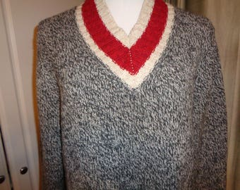 Vintage Brooks Brothers Ragg Wool Style 100% Virgin Wool Sweater in Mint Condition, Size L Men's USA,  with a Red & White wool trim finish