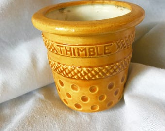 Vintage Thimble Shaped Cup Holder Yellow