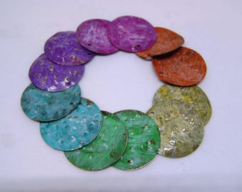 Mermaid Scales, jewelry supply, earring charms pairs, Antique Bronze patina pair Mermaids tail hammered metal