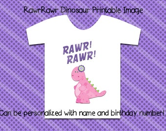 Dinosaur Birthday Printable Digital Download for creating your iron-ons, heat transfer, Scrapbooking, Cards, Tags, DIY YOU PRINT
