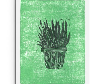 New - Potted Plant Modern Giclee Print - Dark Charcoal Gray and Mint Green