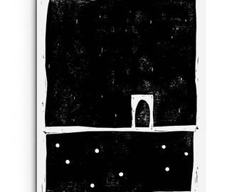 NEW - Minimalist Large Forms with Patterns - Linocut Block Print - Original or Digital Print