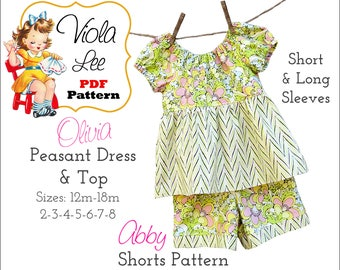 Short & Long Sleeve Peasant Dress Pattern. Girls Dress Sewing Pattern, PDF Dress Pattern, Girls Sewing Pattern, Girl's Dress Pattern. Olivia