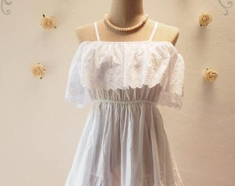 Mid Year SALE Beach Dream Girl Open Shoulder Dress - White Lace Dress - White Tunic Cute Beach Dress -SS2016  Free Size S-M