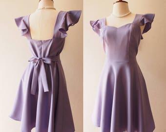OLIVIA - Dusty Purple Dress Ruffle Sleeve Strap Style Back Zipper Short Swing Dress bridesmaid Dress Purple Cocktail La La Land Style Dress