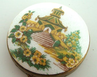 Vintage 1940 Guilloche Enamel Asian Scene Compact with Mirror