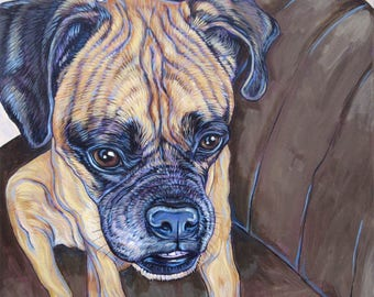 "Custom Pet Portrait Art Painting on Canvas 16"" x 16"" of One Dog, Cat, Other Animal. Custom Background Painted from your Photos Boxer Sample."
