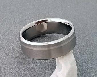 Platinum and Titanium Ring, Titanium Wedding Ring, Mens Titanium Band, Womens Titanium Ring, Titanium Band, Engagement Ring, Promise Ring
