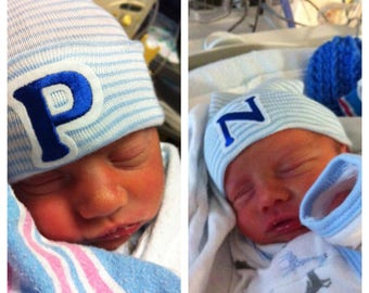 Newborn Hospital Hat for Boys with Initial (Twins)
