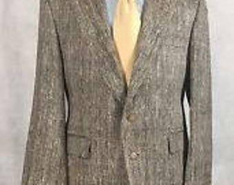 40r Japanese KIKUNA  100% silk  cream black organic designer  blazer, suit coat 40r
