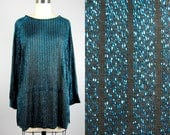CLEARANCE // Vintage 1980s Lurex Blouse 80s Metallic Teal Holiday Tunic Size M