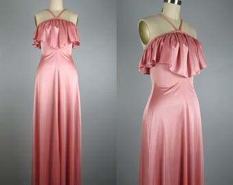 Vintage 1970s Sexy Pink Dress 70s Silky Evening Maxi Dress with Bust Ruffle Size XXS