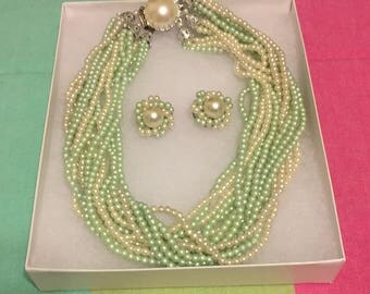Vintage Multi-Strand Mint Green and Ivory Pearl Necklace and Earrings