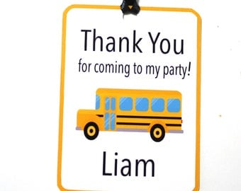 Set of 12 Personalized Yellow School Bus Party Thank You Tags, Birthday Party, School Bus Party Decorations, Party Paper Decor Supplies