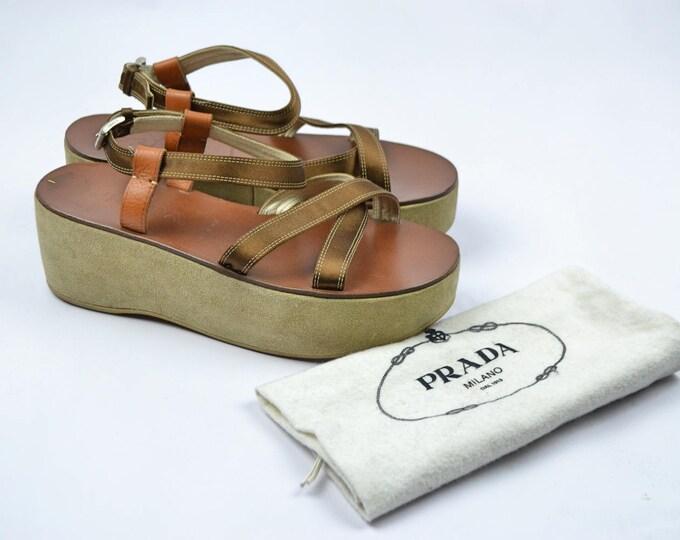 Nearly New PRADA Flatform Strappy Sandals Shoes 38.5 Suede Platforms Ribbon Straps