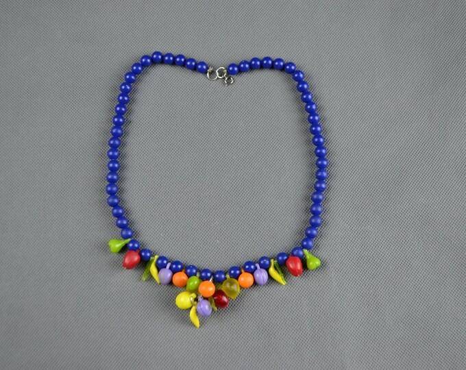 Original Vintage 1940's 1950's Plastic Fruit Salad Beaded Necklace Novelty Jewellery