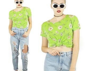 ON SALE Lime Green 90s Daisy Top, Vintage Spandex Top, 90s Flower Power Print, Tie Belly Shirt, Women's Size Large