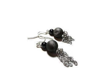 gray druzy hematite chain earrings STERLING SILVER earrings