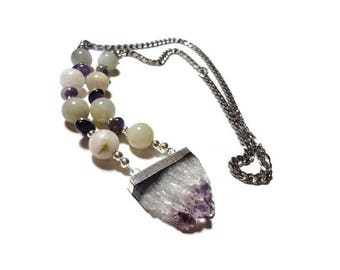 amethyst & moonstone over the head energy necklace