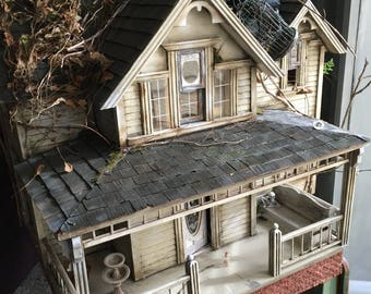 Juli's Dollhouse The Lost Cottage   OOAK hand painted  abandoned dollhouse