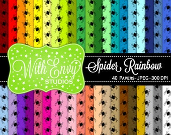 SALE  Rainbow Spider Digital Scrapbook Paper Pack - Spider Paper Set - Spider Scrapbook Paper - Rainbow Scrapbook Paper - Halloween Paper