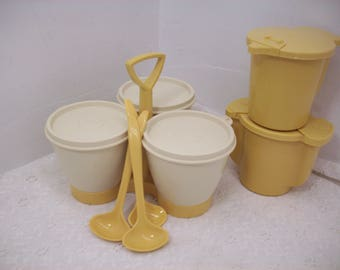 Vintage Tupperware Harvest Gold Cream And Sugar Container & Condiment Holder With Spoons Cream Gold
