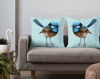 Big Blue Wrens, Set of 2 Cushion Covers Linen Cotton Throw Pillow/ Australian Native Bird Watercolour/ Handmade to Order/ Ships in 1-2 days