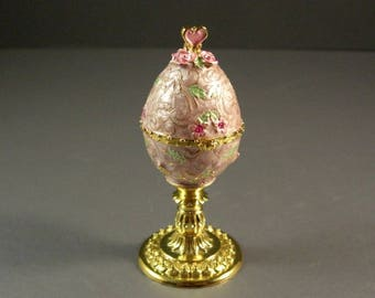 Small Faberge Style Enamel Goose Egg Trinket Box / Jewelry Ring Stash