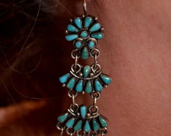 "3"" Long Gorgeous Early Zuni Petit Point Sleeping Beauty Turquoise Chandelier Cluster Dangle Sterling Earrings 22 Grams"