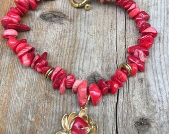 Red Coral Bracelet Golden Lotus Coral Bracelet by Lyrisgems