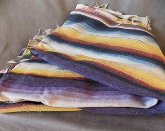 Vintage Woven Serape- Blanket or Wall hanging- Vivid Colors