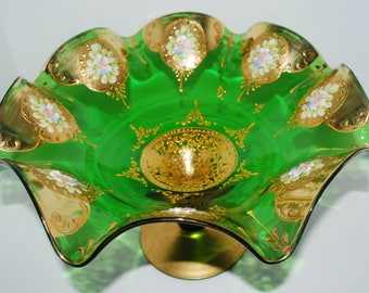 vintage  Bohemian glass compote attributed to Moser Czech glass emerald green and gold pedestal bowl