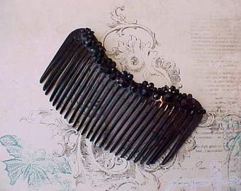 """Lovely Edwardian Era Mourning Celluloid Hair Comb with Faceted Black Glass """"Jewels"""""""