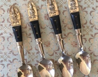 4 Vintage Siamese Demitasse Spoons with Buddha Motif of Brass and Teak Wood