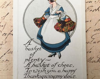 Charming Edwardian Era Postcard-Lady Carrying Baskets of Fruits and Vegetables for Thanksgiving
