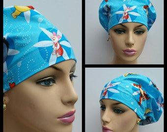 Mini - Chemo Cap - Nurses Hat - European Style - Winnie the Pooh - Friendship Cameos - Powder Blue - 100 % cotton