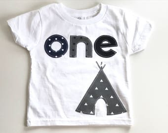 Camping Boys First Birthday shirt happy camper teepee tent woodland wild one one bear