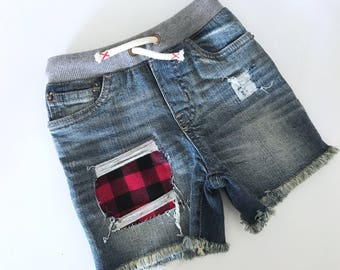 Distressed jean shorts toddler baby lumberjack plaid